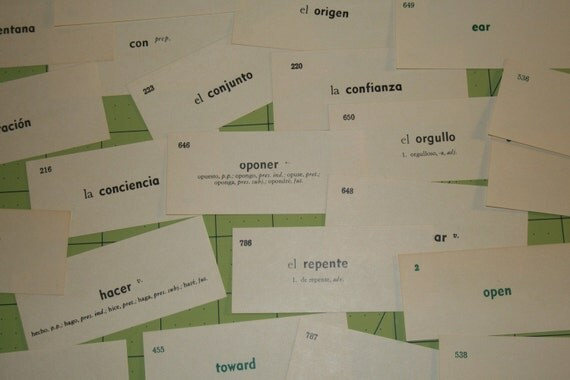 Vintage vocabulary Flash Cards Spanish words on one side English on the other side