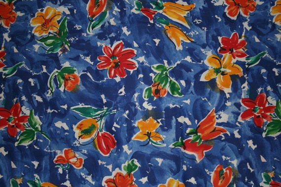 Vintage abstract painted Floral canvas Fabric 2 and a half plus yards