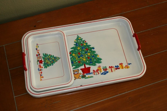 SALE Vintage Japanese made Childs Holiday Christmas Tray Set PERFECT GIFT
