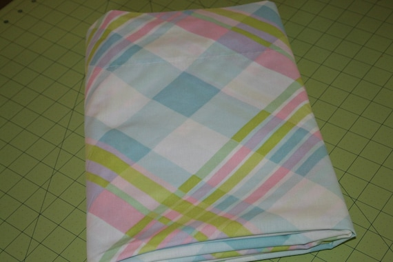 Vintage Reclaimed bed sheet fabric Pink Blue and Chartreuse large plaid design