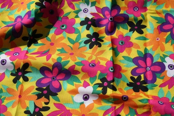 RESERVED Vintage Dress Fabric bright Bold funky floral Fuchsia Pink and white daisies Blooms on Yellow apparel decor craft fabric 2 yards