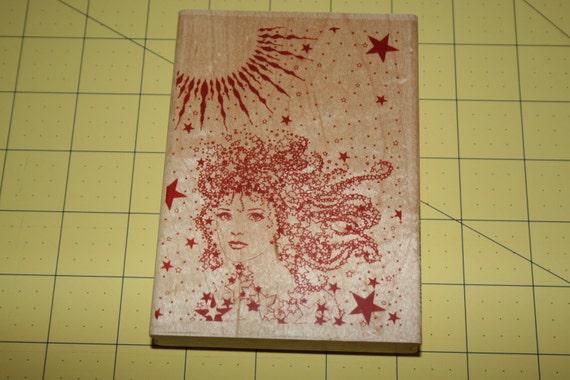 Star Goddess Celestial Rubber Stamp - large Sun Woman stars