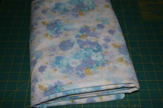 Vintage Reclaimed Fabric vintage bed sheet linen Fabric shades of blue Watercolor Floral retro flower print for quilting apparel softies etc