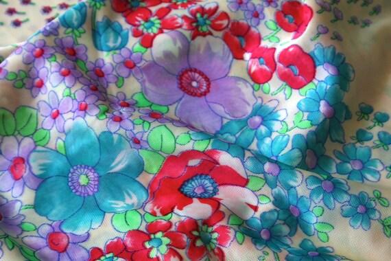 SALE Vintage Nylon Fabric funky bright psychedelic Mod poppy floral cream light wt soft nylon apparel night dressing gown peignoir Fabric 3y