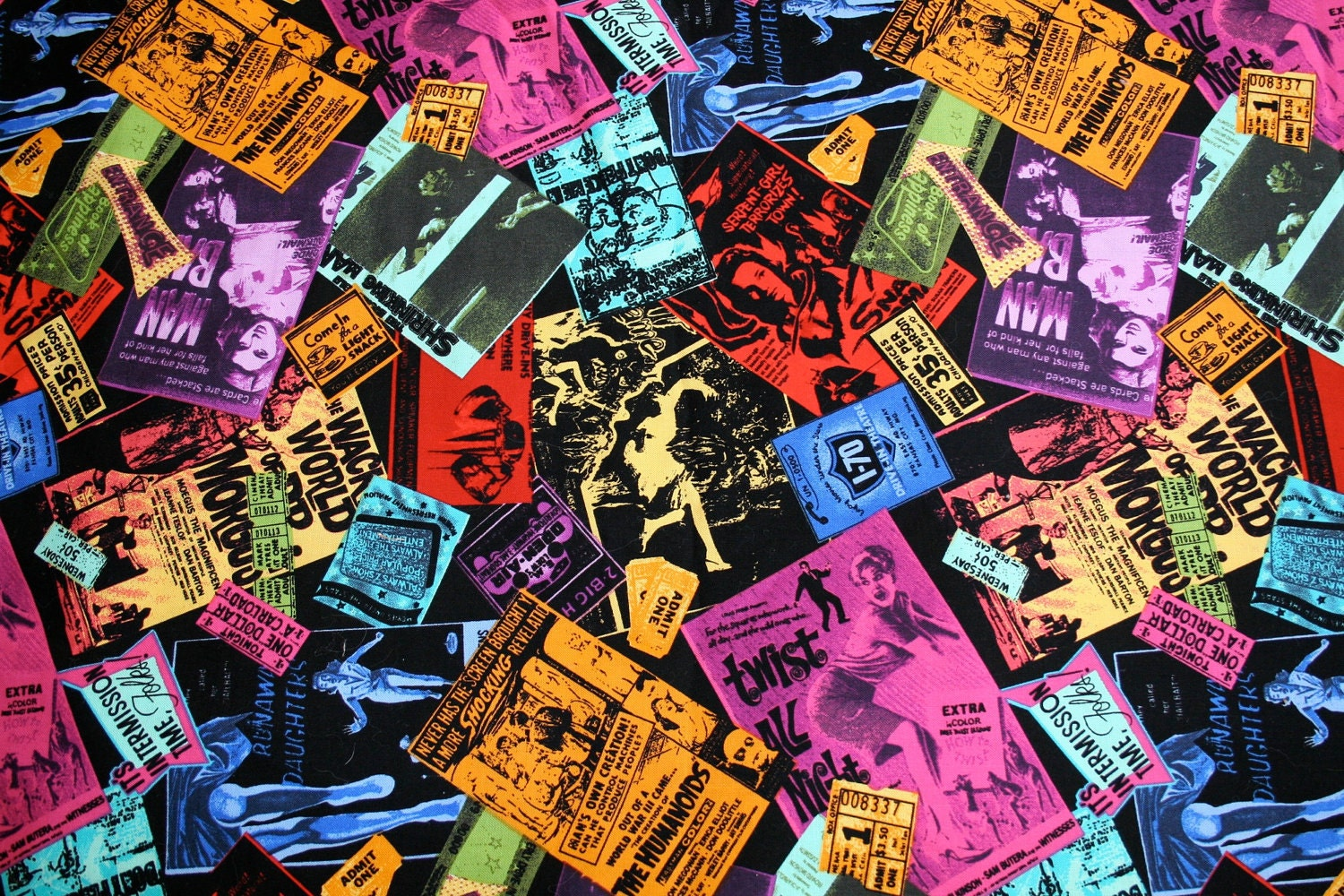 Horror Films Collage Retro movie poster fabric!