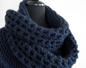 Available in Extra Large Size- Dark Navy Blue Color Knitted Crochet Shawl Wrap Stole with Three Tassels