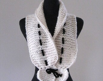 FREE US SHIPPING - Light Cream Off White Color Knitted Scarf Collar Necklet Scarflette with Black Cord