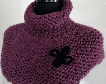 FREE US SHIPPING - Wool Acrylic Yarn Burgundy Plum Wine Eggplant Color Women Knitted Capelet Collar Cowl Turtleneck Gaiter