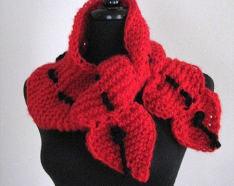 Red Hearts Color Knitted Scarf Collar Necklet Scarflette with Black Cord