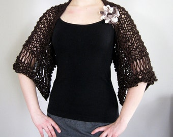 Extra Large Size Available - Organic Cotton Yarn Espresso Dark Brown Color Knitted Rustic Shrug Bolero Sleeves with Crocheted Flower Brooch