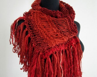 SALE - Ruby Red Color Knitted Women Fashion Lacy Scarf with Long Fringes