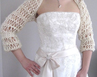 LAST ONE! SALE - Ivory Eggshell Ecru Off White Light Cream Color Wedding Lacy Knitted Shoulder Bridal Shrug Bolero Sleeves