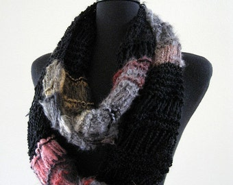 SALE - Extra Long Lacy Black Gray Color Multicolor Stripes Chunky Infinity Scarf Cowl Gaiter
