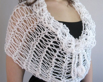 FREE US SHIPPING - White Color Knitted Lacy Cowl Wedding Capelet Infinity Scarf Wrap Poncho with Cord Ties