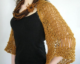MADE TO ORDER - Organic Cotton Yarn Cinnamon Spice Color Lacy Knitted Shoulder Shrug Bolero Sleeves