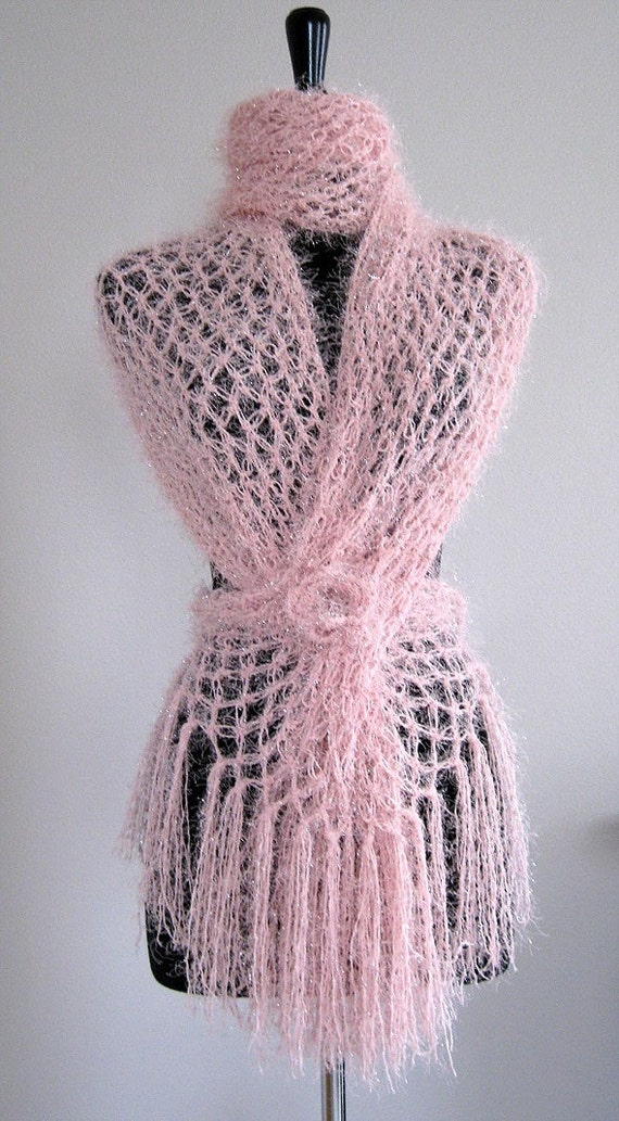 Rose Quartz Pink Color Wedding Silky Soft Stole Shawl Wrap Scarf with Crocheted Flower Brooch Pin