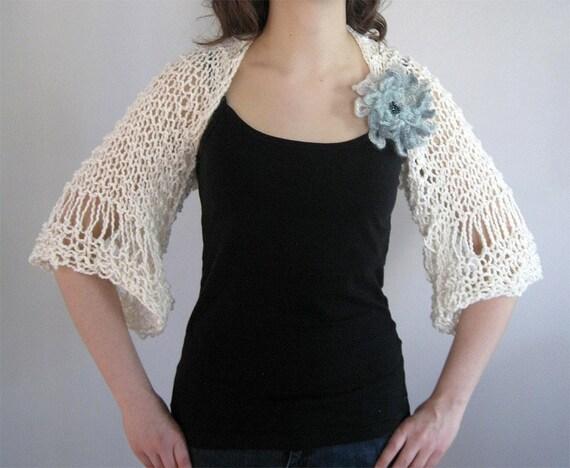 SALE - Light Cream Off White Eggshell Color Women Lacy Shoulder Shrug Bolero Organic Cotton