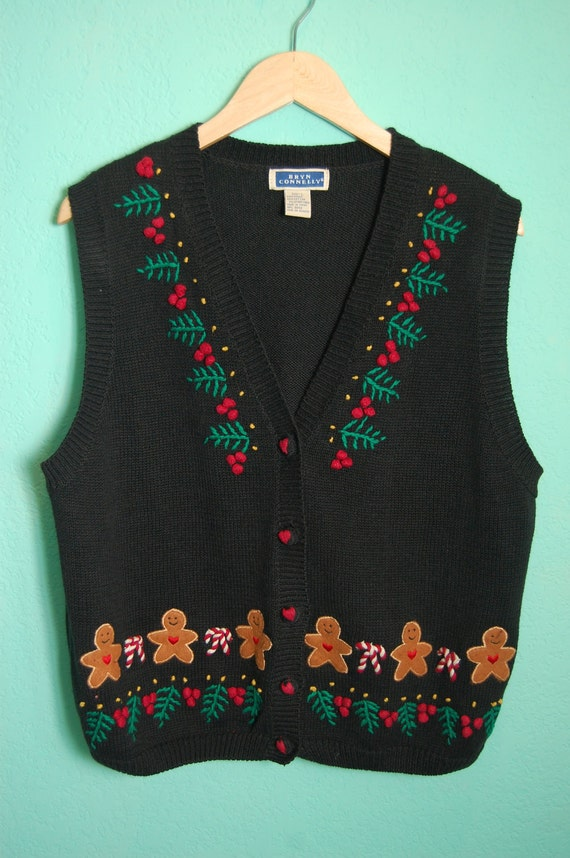 Vintage Women's Holiday Gingerbread Vest