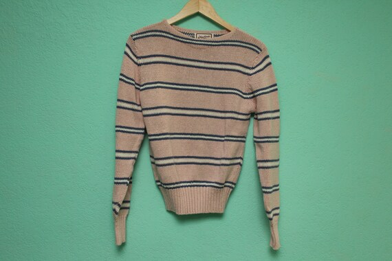 Vintage Pink, Purple & White Striped Sweater