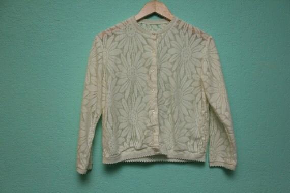 Vintage White Daisy Cardigan