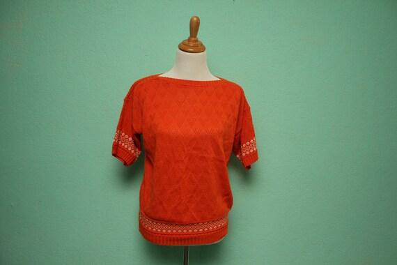 Vintage Orange Heart Knit Sweater