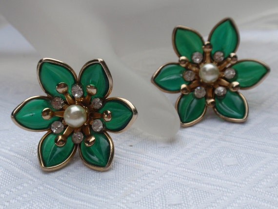 Vintage Poured Glass Earrings with Rhinestones in Green