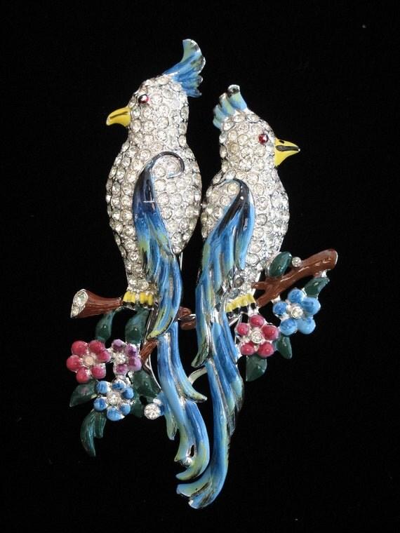 Coro Calopsita Duette Birds Brooch Dress Fur Clips c1940