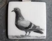 Pigeon-Hand Painted Porcelain Pendant