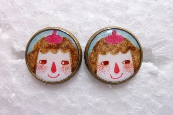 Little Painter - Round Base Post Stud Earrings
