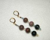 FREE U.S. Shipping - Fancy Jasper Semi-Precious and 14kt Gold Plated Dangle Earrings (Wearable Art)