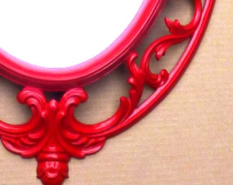 Large Vintage Ruby Red Syroco MIRROR . . . Shabby Chic, Hollywood Glam . . .  2.125 x 17 5/8 x 28 1/2 inches