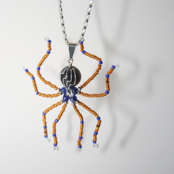 Handmade Beaded Spider Necklace for Halloween  OOAK