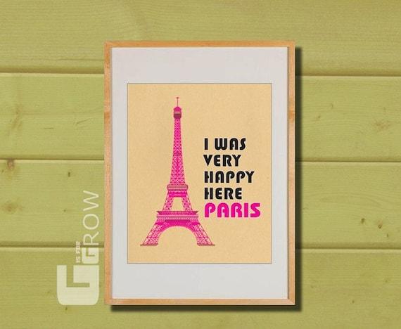 Happy Paris, eiffel tower, paris Illustration, print paris, cityscape art, champ de mars