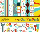 COMMERCIAL LICENSE Rudy Robot Digital Scrapbooking Kit