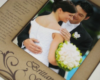 Large Sized Wedding Vows or Song Lyrics 5x7 Photo Frame - Personalized Gift for Bride and Groom
