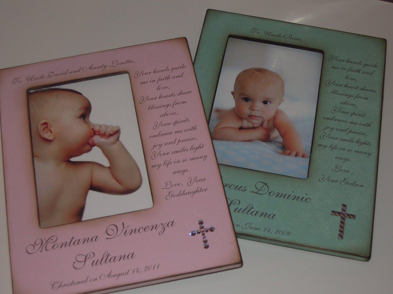 Godparent baptism christening gift personalized frame for - Gifts for baby christening ideas ...