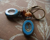 True Blue and Brown Glass Earrings