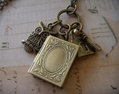 Antiqued Brass Cluster Pendant Necklace with Book Locket Owl Lock and Key by Gamut