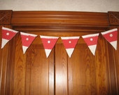 Valentines Pennant Banner Red Vintage Quilt Flags Bunting Camping Glamping Party Decor Decoration Garland
