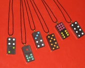 Domino Necklace Upcycled Vintage Wood Jewelry Gift Retro Pendant Fun Gift 8