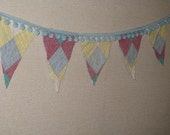 Quilt Pennant Bunting Banner Baby Nursery Garland Pom Poms Flags Celebration Decor Gift