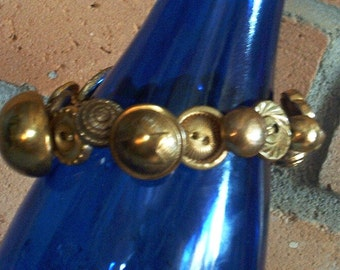 Button Bracelet Vintage Gold Buttons OOAK Handmade Jewelry Unique Gift For Her Crocheted Band Stretches For One Size Fits All With Gift Box