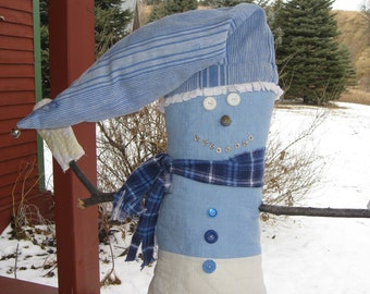 """Primitive Snowman Cabin Decor 21"""" Vintage Quilt Button Thimble Blue White Flannel Upcycled Textiles Fabric Pieces Of Olde Gift Winter Decor"""
