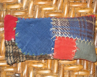 Crazy Quilt Pincushion Repurposed Quilt Upcycled Fabric Blanket Quilters Gift Eco Feather Stitched