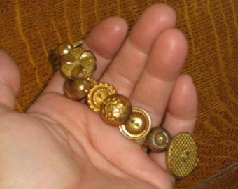 Button Bracelet Vintage Gold Buttons OOAK Handmade Jewelry Unique Gift For Her Crocheted Band Stretches For One Size Fits All