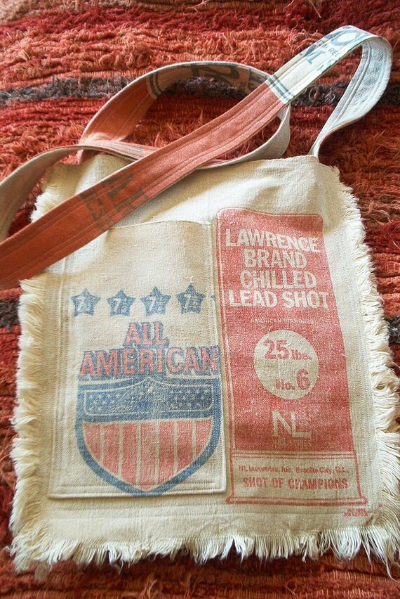 Grain Sack Purse Feed Sack Bag Messenger Gun Shot Eco Bag Purse Vintage Grainsack Cross Body Canvas Cotton Gift