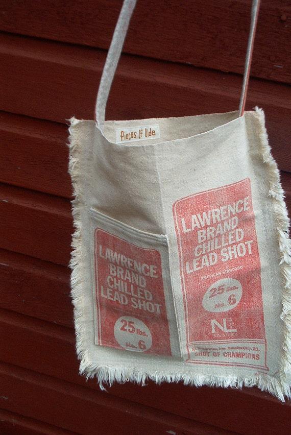 Americana Messenger Bag Gun Shot Purse Pockets Feed Sack Purse Cross Body Canvas Cotton Red White Blue Unique Gift Glamping Flea Market Bag