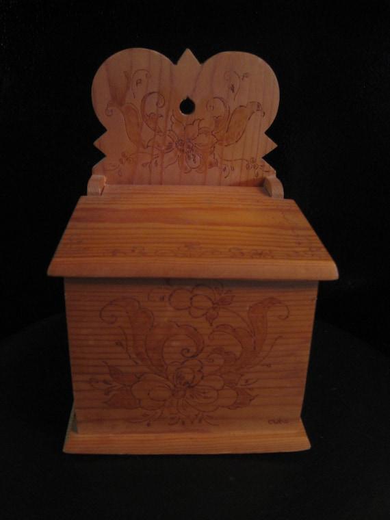 Salt Box Wood Burned Folk Art Vintage Signed Wall Piece