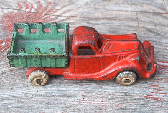 Cast Iron Truck Hubley 1930s Stake Bed Red Green Rare Vintage Collectible Man Gift