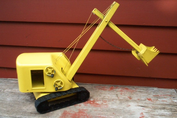 Structo Crane Steam Shovel Scoop Pressed Steel Contruction Vintage Toy Man Gift For Him Fathers Day Gift